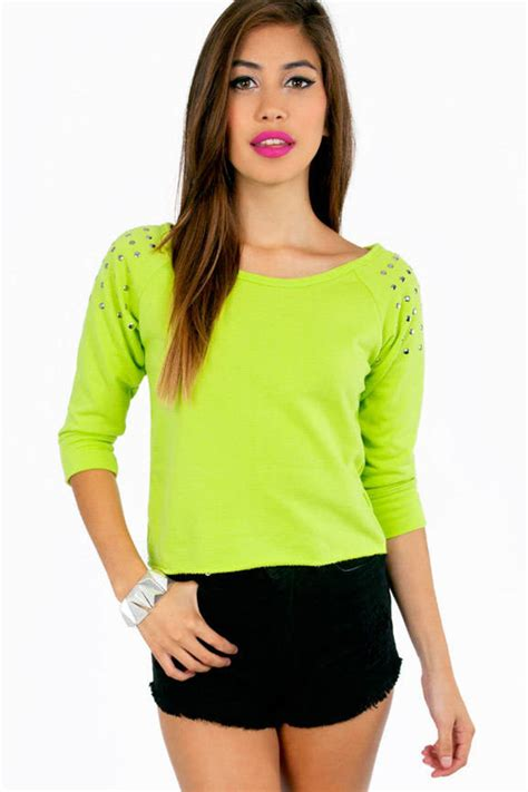 color sweat lime sweater green sweater studded sweater lime
