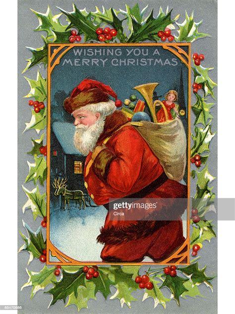 vintage christmas card  santa claus   sack full