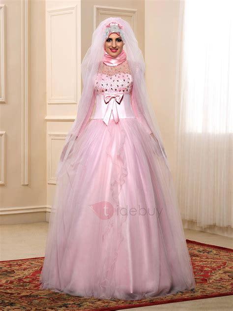 modest beaded bowknot muslim wedding dress tidebuycom