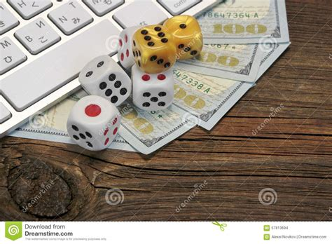 computer keyboard gaming dices  dollar cash  wood