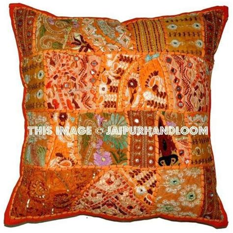 orange vintage throw pillow  couch embroidered