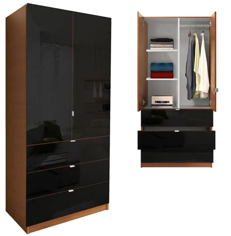 Black Wardrobe With Shelves by Alta Wardrobe Armoire 3 Drawer Wardrobe Shelves
