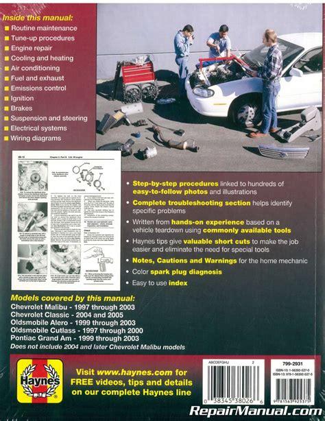 service manuals schematics 1997 oldsmobile regency head up display haynes gm chevrolet oldsmobile alero cutlass and pontiac grand am 1997 2003 auto repair