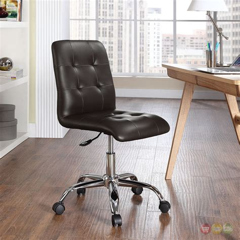 prim modern faux leather armless mid back office chair brown