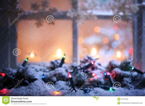 frosted window  christmas decoration stock image