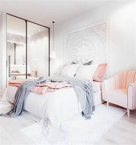 1001 conseils et idees pour une chambre en rose et gris With chambre blanche et rose