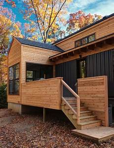 Modern, Retreat, Home, Features, Wood, And, Steel, Facade