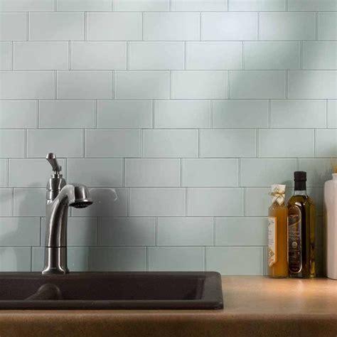 aspect 3 quot x6 quot glass backsplash tile in morning dew