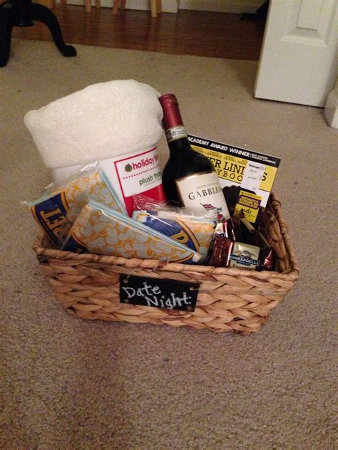 christmas grab bag gifts grab bag gift idea quot date quot includes a basket filled with a throw blanket wine