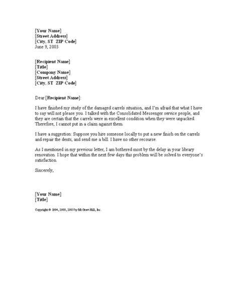letter offering solution  damaged shipment