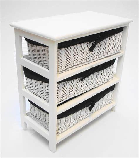 white wider basket chest of drawer bedside bedroom