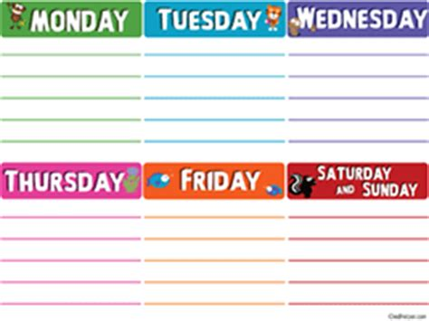 days   week printable worksheets