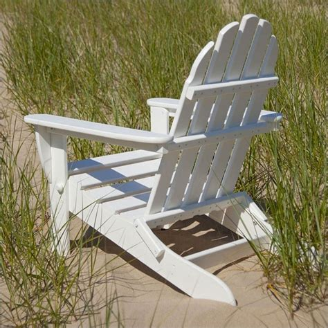 polywood classic folding adirondack chair in white ad5030wh