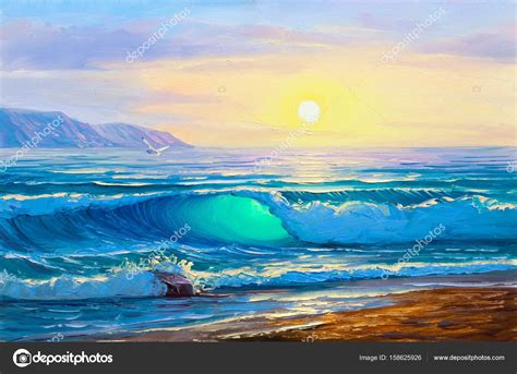 sunrise  sea painting seascape stock photo