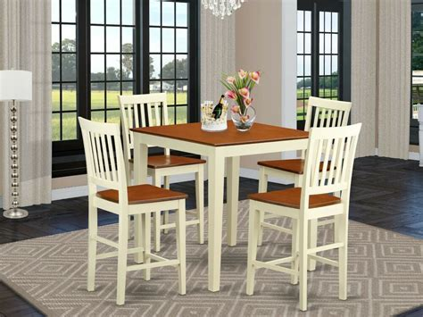 pc counter height pub set table  bar stool wood chairs