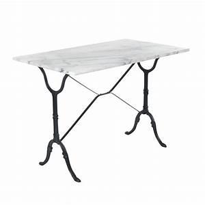 Table Marbre Rectangulaire : table rectangulaire avec plateau en marbre blanc noir bistrot les tables de cuisine les ~ Teatrodelosmanantiales.com Idées de Décoration