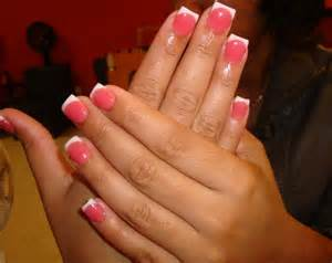 Pink and white nails with powder pictures to pin on