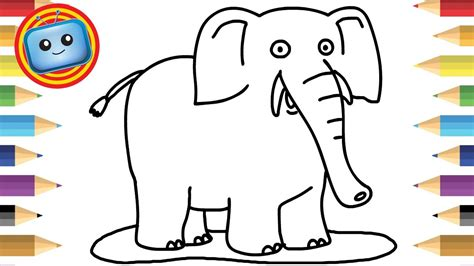 draw  elephant colouring book simple drawing