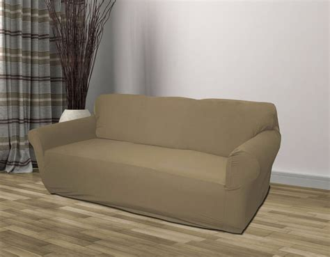 Taupe Jersey Loveseat Stretch Slipcover, Couch Cover Love