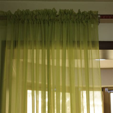 curtains for living room solid color green sheer window