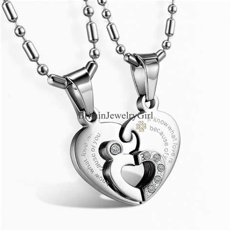 2pcs stainless steel mtaching pendant s s chain necklace ebay