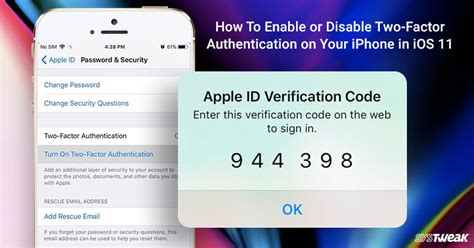how to enable or disable two factor authentication in ios 11
