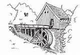 Watermolen Watermill Plaatjes Wassermuhle Molino Animaatjes Opleiding Sketchite Plaatje Meek Colorear Molen Lagret sketch template
