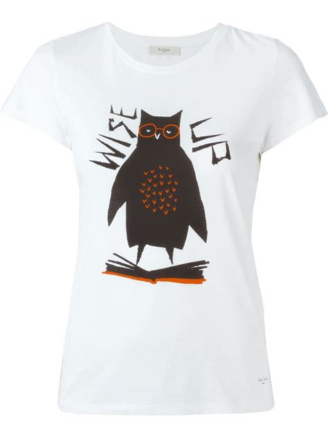 lyst paul by paul smith owl print t shirt in white