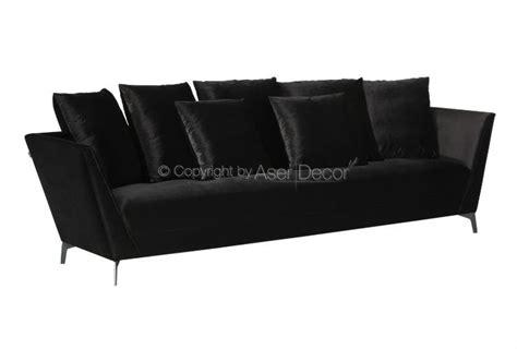 sofa veludo preto sof 225 limirue living 3 lugares fixo veludo preto sala de