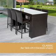 Patio Furniture Pub Table Sets by Bar Table Set With Barstools 7 Piece Outdoor Wicker Patio Furniture