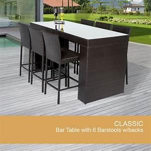 Rattan Bar Set : 7 piece outdoor bar set wicker bar table design furnishings ~ Indierocktalk.com Haus und Dekorationen