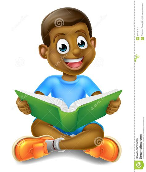 Boy Cartoon Reading Book For You Design Stock Vector ...