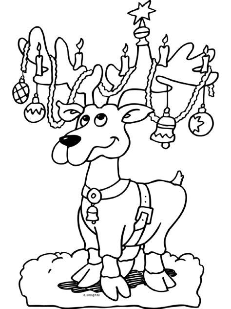 Kerstman Rendier Kleurplaat by Kleurplaat Rendier Met Ballen En Slingers Kleurplaten Nl