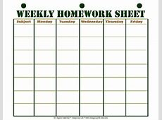 Weekly Homework Sheet Printable by Designing Life TpT