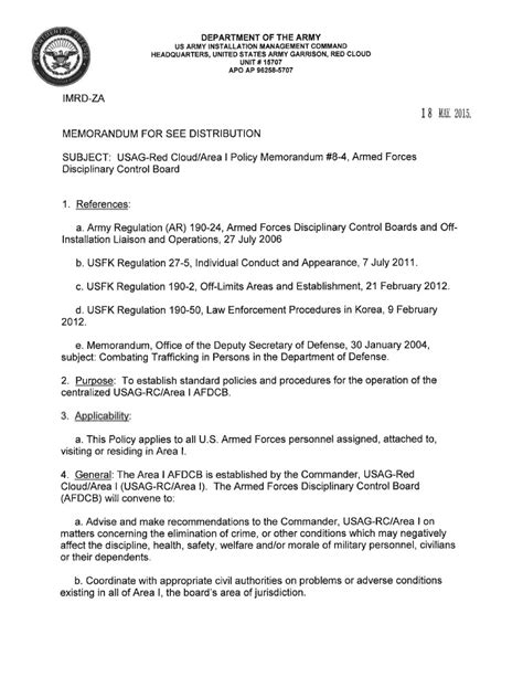 usag rc command policy memorandum   armed forces