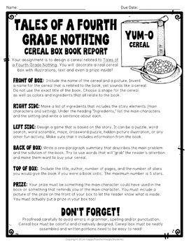 tales of a fourth grade nothing project cereal box book report activity