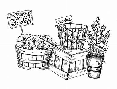 Farmers Market Clipart Farm Stand Coloring Gooseberry
