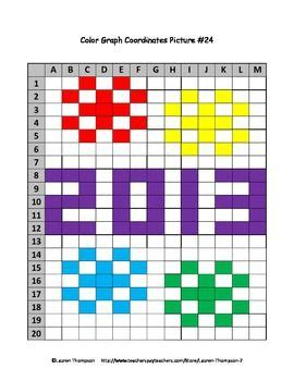 2013 & Fireworks Mystery Picture Coordinate Graphing  Free  New Years Worksheet Printable