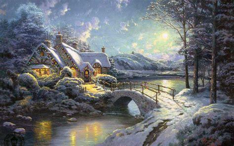 winter scenery painting widescreen wallpaper wide