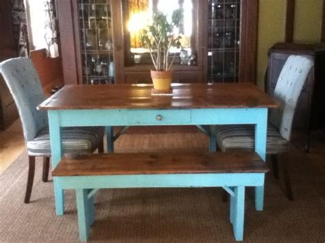 farmhouse kitchen table with bench made custom farm table with matching bench by