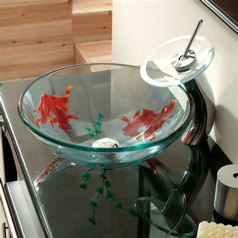 clear tempered glass sink  goldfish art design
