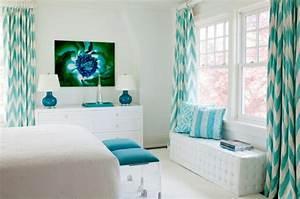 Rideau Bleu Pastel : 1001 designs stup fiants pour une chambre turquoise ~ Teatrodelosmanantiales.com Idées de Décoration