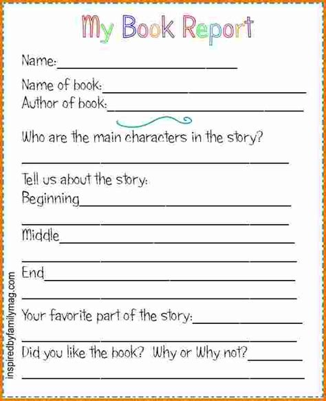 2nd Grade Book Report Forms by 4 Book Report Template 2nd Grade Expense Report