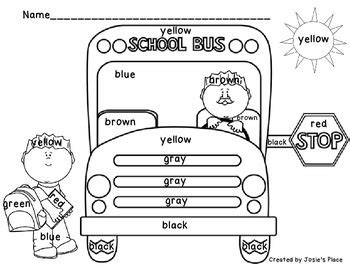 color word recognition  bus coloring sheets  josies place