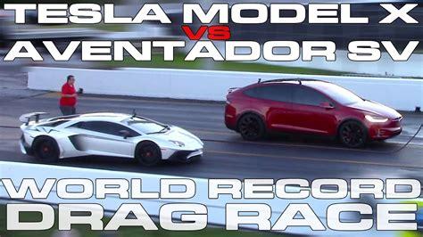 Tesla Model X Beats Lamborghini Aventador, Sets World