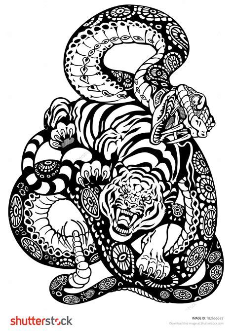 Snake And Tiger Fighting, Black And White Tattoo Illustration - 182666633 : Shutterstock | Black