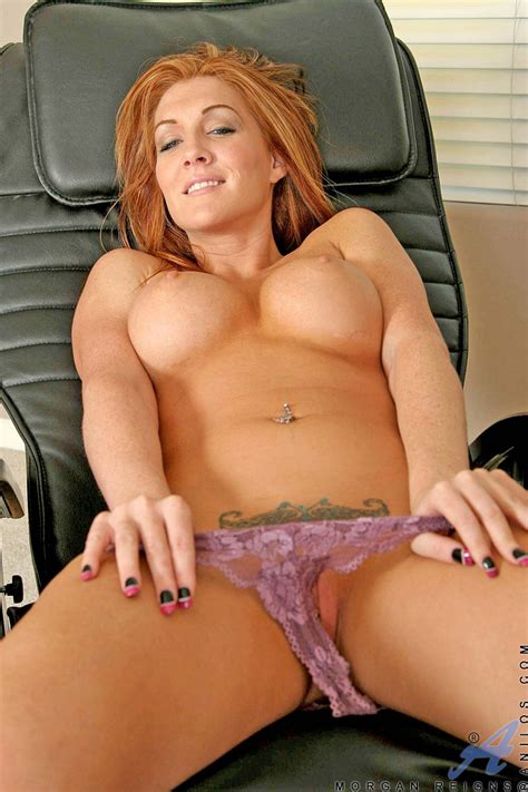 Morgan Reigns Seductive Busty Red Headed Anilos Stuffs Her Honey Filled Pussy With The Rabbit