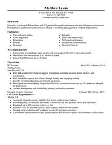 resume summary of qualifications entry level experienced telemarketer resume sle my perfect resume