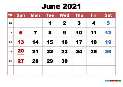 Get 2021 June Printable Calendar  Background