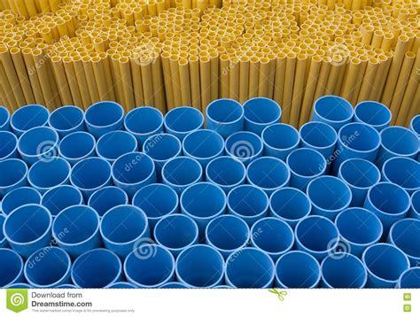 blue yellow pvc pipe stock 19853131